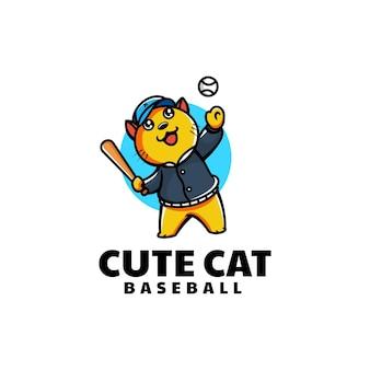 Векторная иллюстрация логотипа бейсбол кот талисман мультяшном стиле