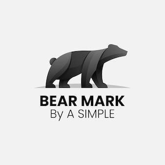 ベクトルロゴイラストクマのグラデーションカラフルなスタイル