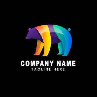 Vector logo illustration bear gradient colorful style