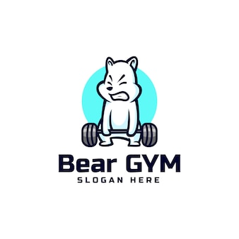 Vector logo illustration bear gym mascot cartoon style