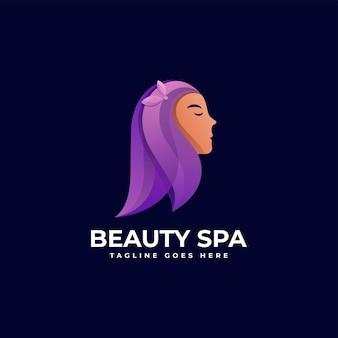 Векторная иллюстрация логотип красивая девушка градиентом красочный стиль