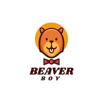 Векторная иллюстрация логотипа бобр мальчик талисман мультяшном стиле