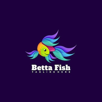 Vector logo illustration beta fish gradient colorful style