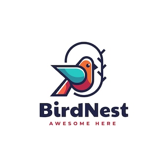 Vector logo illustration bird nest simple mascot style