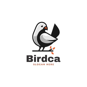 Vector logo illustration bird simple mascot style