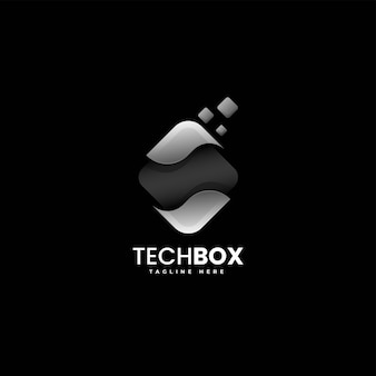 Векторная иллюстрация логотип коробка градиентом красочный стиль