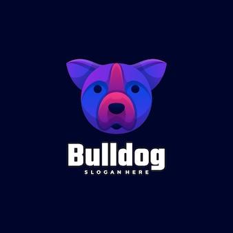 Векторная иллюстрация логотипа бульдог градиент красочный стиль.