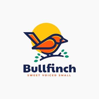Vector logo illustration bullfinch simple mascot style