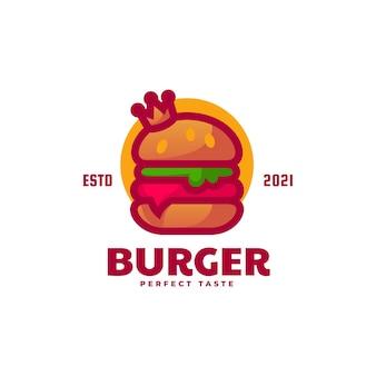 Векторная иллюстрация логотипа бургер стиле простой талисман
