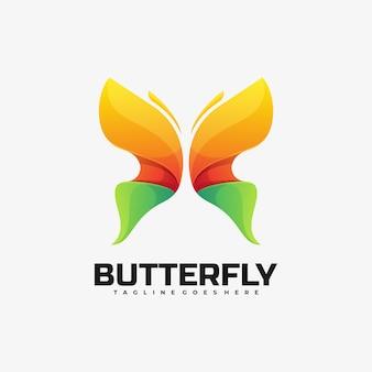 ベクトルロゴイラスト蝶のグラデーションカラフルなスタイル