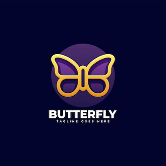 Vector logo illustration butterfly gradient colorful style