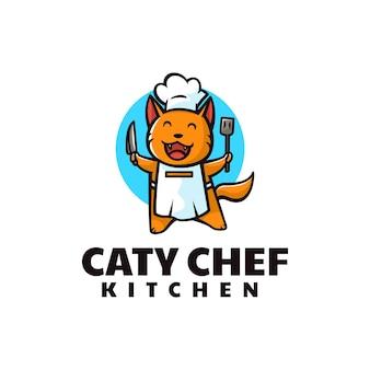 Векторная иллюстрация логотипа кошка шеф-повар талисман мультяшном стиле