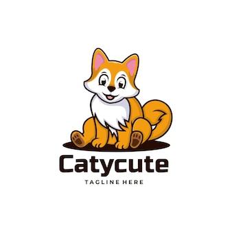 Vector logo illustration cat cute simple mascot style.