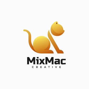 Векторная иллюстрация логотип кошки градиентом красочный стиль
