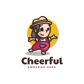 Vector logo illustration cheerful girl mascot cartoon style.