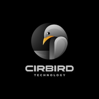 Vector logo illustration circle bird gradient colorful style