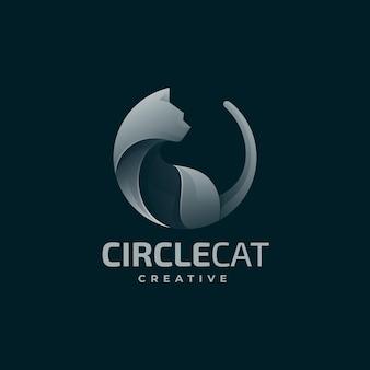 Векторная иллюстрация логотипа круга кошка градиентом красочный стиль