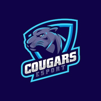 Vector logo illustration cougar e sport and sport style