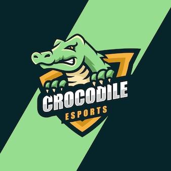 Векторная иллюстрация логотипа крокодил e спорт и спортивный стиль
