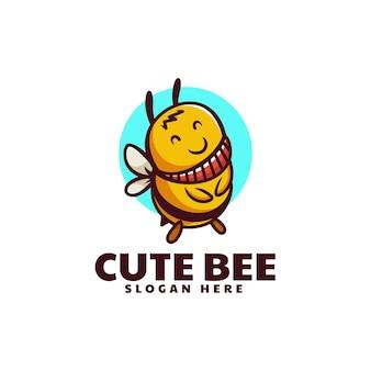 ベクトルロゴイラストかわいい蜂のマスコット漫画スタイル