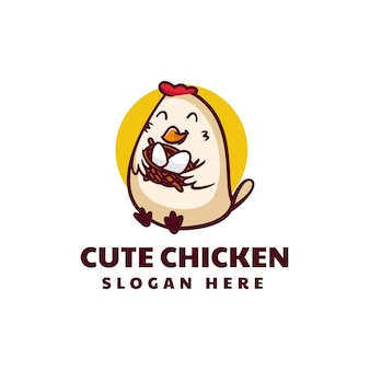 Vector logo illustration cute chicken mascot cartoon style