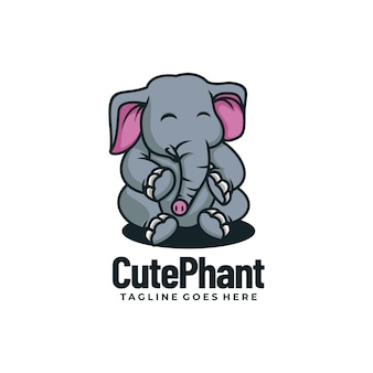 ベクトルロゴイラストかわいい象のマスコット漫画スタイル。