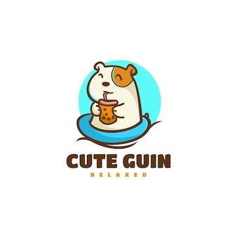 Vector logo illustration cute guinea pig mascot cartoon style