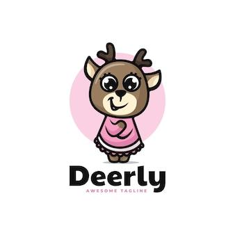 Vector logo illustration deer mascot cartoon style