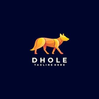 Векторная иллюстрация логотипа собака градиент красочный стиль. Premium векторы