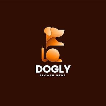 Векторная иллюстрация логотип собаки градиентом красочный стиль