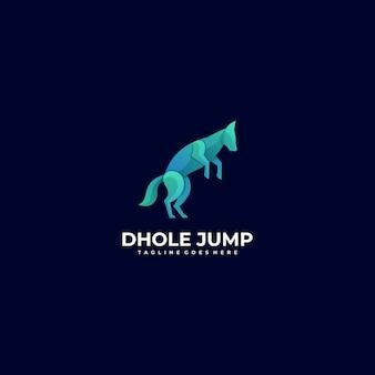 Векторный логотип иллюстрация собака прыжок градиент красочный стиль.