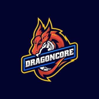 Векторная иллюстрация логотипа дракон e спорт и спортивный стиль
