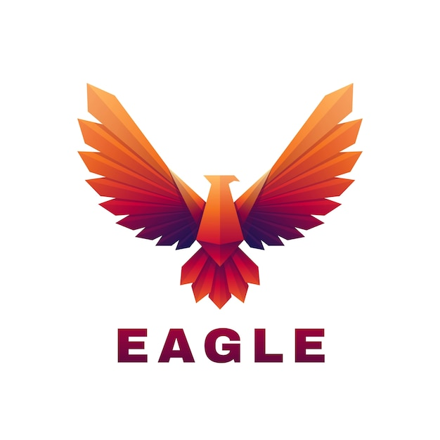 Vector logo illustration eagle gradient colorful style.