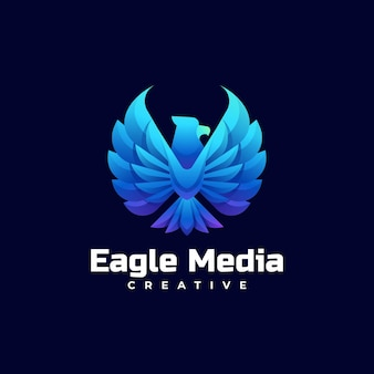 Векторная иллюстрация логотипа орла градиентом красочный стиль