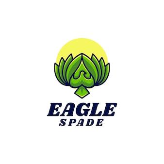 Векторная иллюстрация логотипа орел лопаты двойное смысл стиле