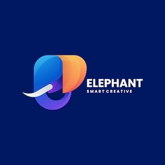 Vector logo illustration elephant gradient colorful style