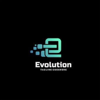 Векторный логотип иллюстрация эволюции градиент красочный стиль.