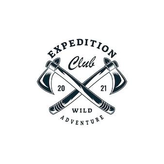 Векторная иллюстрация логотипа экспедиции в стиле ретро значок.