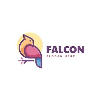 Vector logo illustration falcon simple mascot style