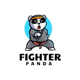 Vector logo illustration fighter panda mascot cartoon style