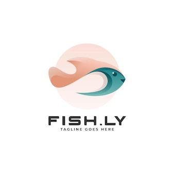 Векторная иллюстрация логотип рыбы градиентом красочный стиль