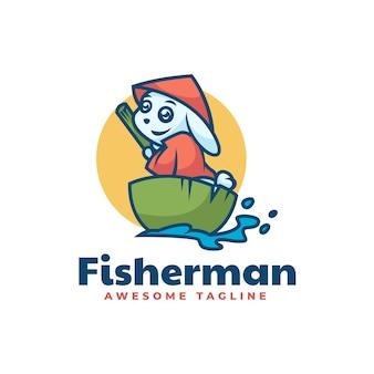 Vector logo illustration fisher rabbit mascot cartoon style