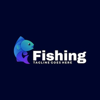 Vector logo illustration fishing gradient colorful style.