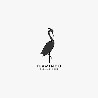 Vector logo illustration flamingo silhouette style.