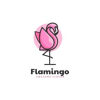 Vector logo illustration flamingo simple mascot style