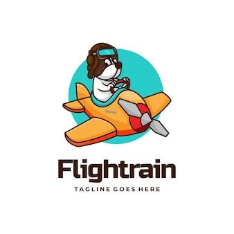 Vector logo illustration flight train mascot cartoon style.
