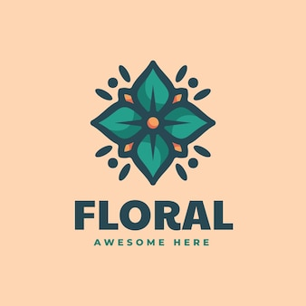 Vector logo illustration floral simple mascot style