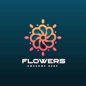 Vector logo illustration flower gradient line art style