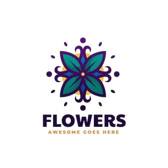 Vector logo illustration flower simple mascot style