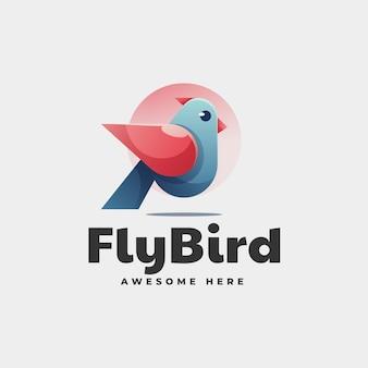 Vector logo illustration flying bird gradient colorful style